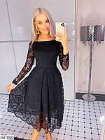 Вечернее гипюровое платье со съемной фатиновой юбкой арт 22