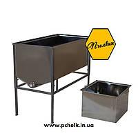 Стол для распечатывания рамок 1 метр (AISI 304, толщиная стенок бака 0,8 мм, глубокая корзина)