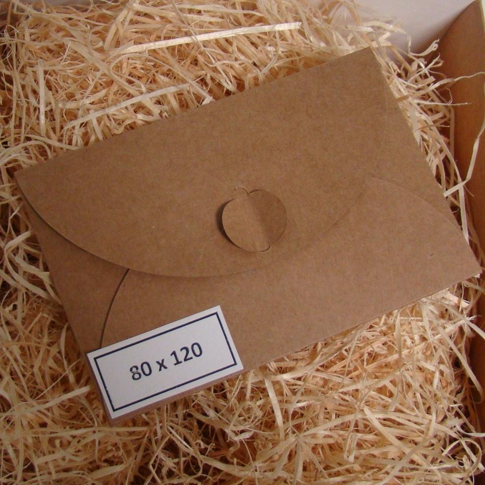 Подарочный конверт из эко крафт-картона 80 х 120 мм + ПОДАРОК (на 200 шт конвертов)