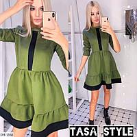 Двухцветное замшевое платье - клеш арт 131