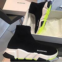 Женские кроссовки в стиле Balenciaga Speed Trainer Black & Neon Green