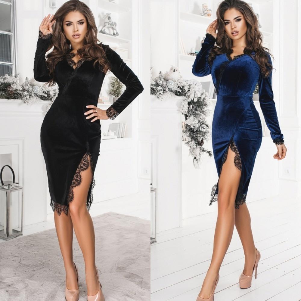Платье женское футлярное, бархатное, нарядное, вечернее, с кружевом и разрезом, эффектное, модное, с декольте