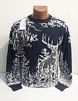 Мужской свитер с оленями тёплый