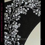Веточка веночек в прическу тиара гребень ободок под серебро с жемчугом и бусинами, фото 2