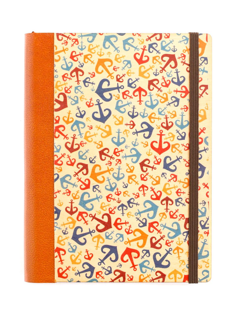 """Эко Записная книжка в полоску А5 """"Одесса. Якоря"""", деревянная в книжном переплете"""
