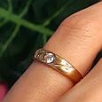 Золотое кольцо женское с 1 камнем, фото 3