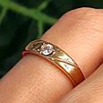 Золотое кольцо женское с 1 камнем, фото 2