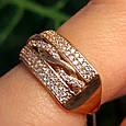 Женское золотое кольцо с фианитами Косичка, фото 4