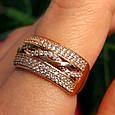 Женское золотое кольцо с фианитами Косичка, фото 3