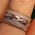 Женское золотое кольцо с фианитами Косичка, фото 2