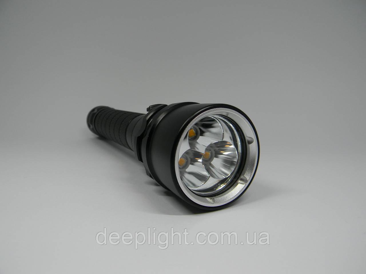 Підводний ліхтар Deeplight X3 з жовтим світлом на трьох діодах Cree XM-L2 30W під 18650
