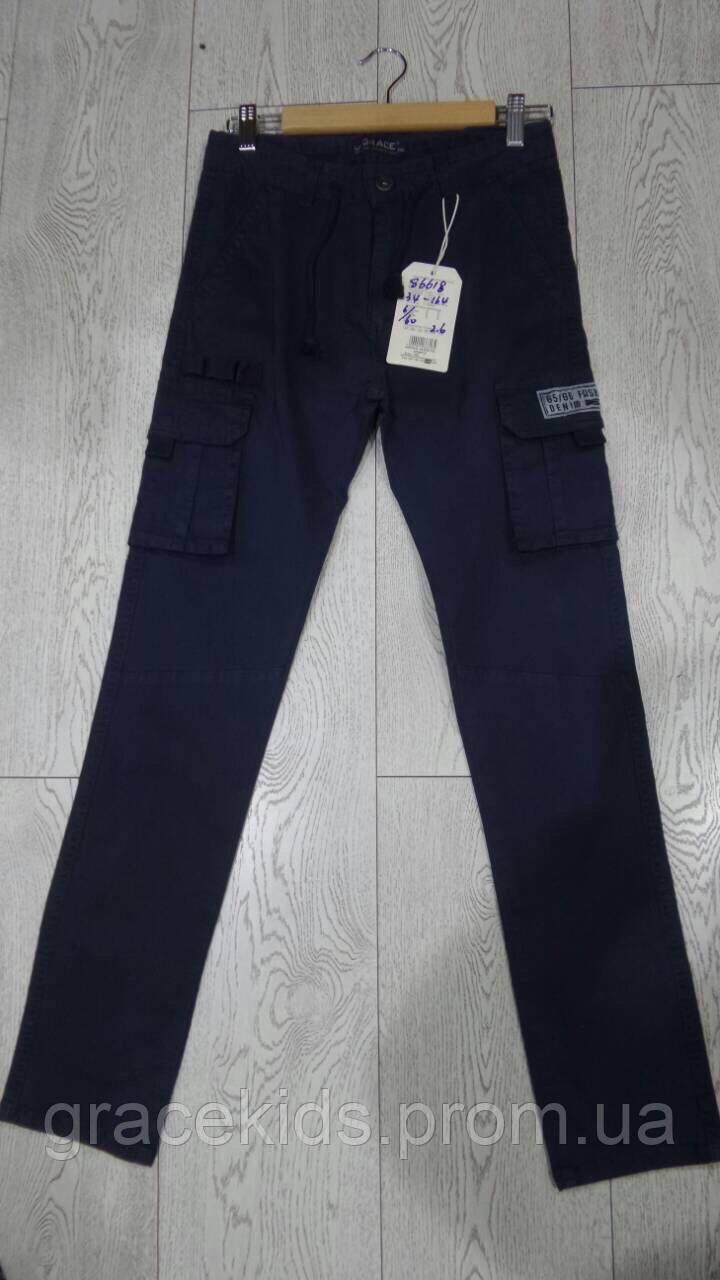 Подростковые котоновые брюки с карманами для мальчиков GRACE,разм 134-164 см