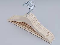 Плечики вешалки тремпеля деревянные ECO светлые, длина 33 см, в упаковке 5 штук