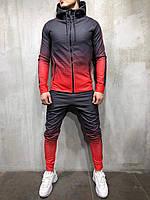 Весенний мужской спортивный костюм из микродайвинга красный с черным
