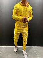 Демисезонный мужской спортивный костюм (толстовка+штаны) желтый - M