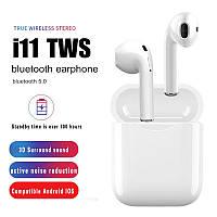 Беспроводные наушники и гарнитура Bluetooth блютуз блютус i11 для телефона смартфона. Бездротові навушники