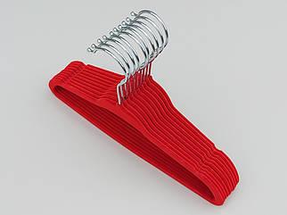 Плічка довжина 28 см, в упаковці 10 штук вішалки флокоані (оксамитові, велюрові) червоного кольору