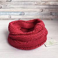 Красный женский вязаный хомут крупной вязки снуд под горло