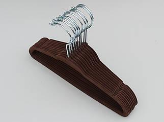 Плечики вешалки  флокированные (бархатные, велюровые) коричневого цвета, длина 28 см, в упаковке 10 штук