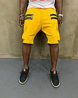 Летние мужские трикотажные шорты ярко-желтые с молниями - размер M