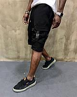 Трикотажные мужские шорты-карго летние черные - S, M
