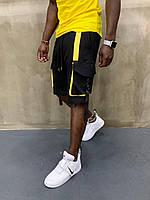 Крутые мужские летние шорты-карго черные с желтым - размер S