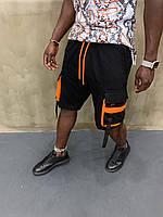 Стильные мужские шорты-карго черные с оранжевым - размер M