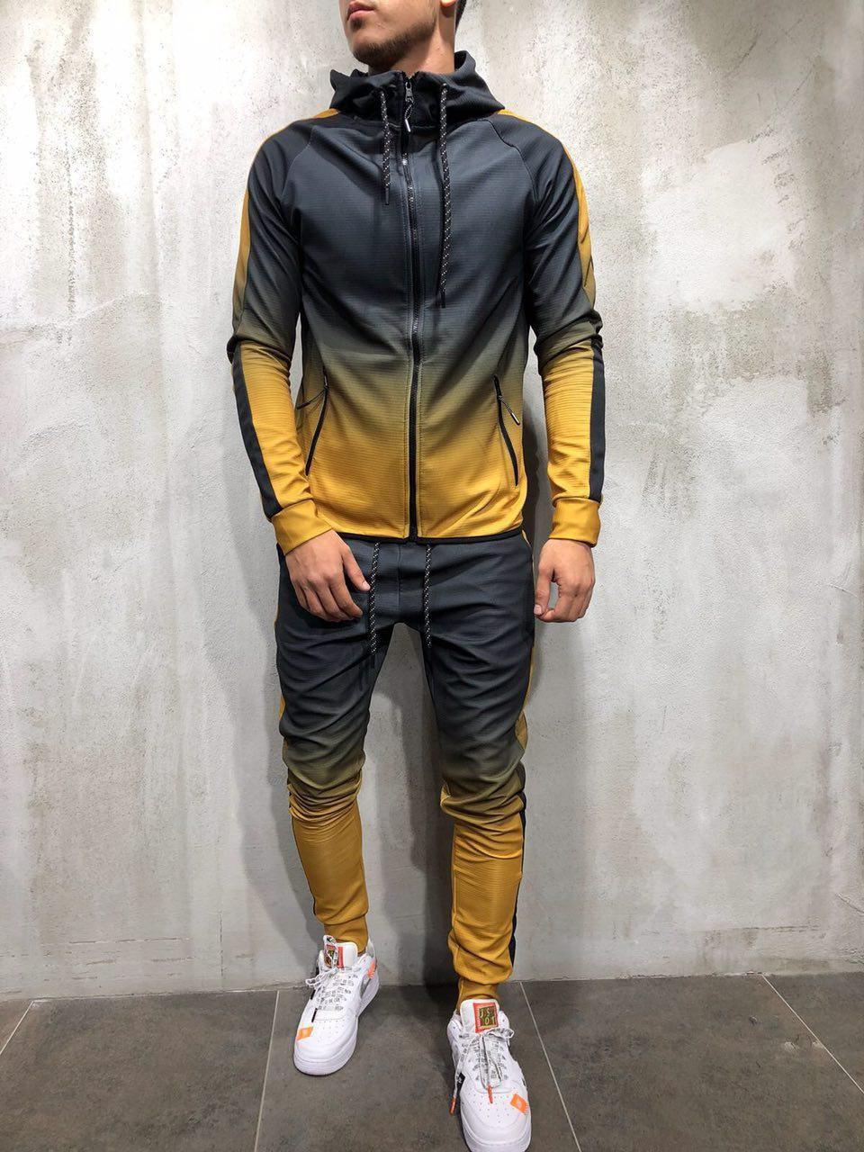 Спортивный костюм мужской демисезонный двухцветный черный с желтым
