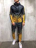 Спортивный костюм мужской демисезонный двухцветный черный с желтым, фото 1