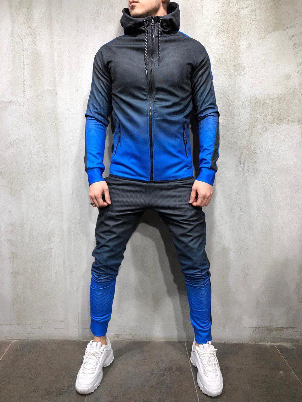 Турецкий мужской спортивный костюм микродайвинг черный с синим