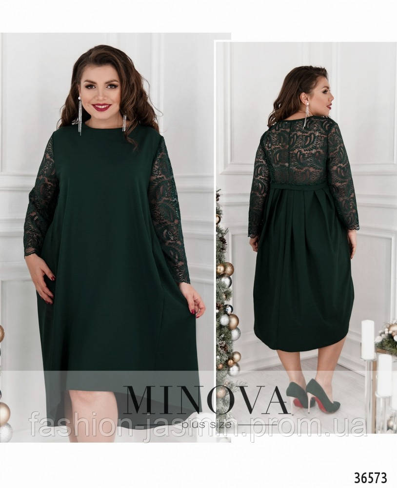 Платье №734-1-темно-зеленый