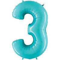 """40"""" Цифра """"3"""" (100 см) пастель аквамарин Grabo Італія куля фольгований"""