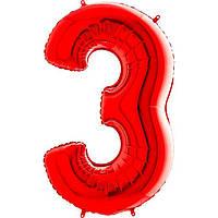 """40"""" Цифра  """"3"""" (100 см) красный Grabo Италия шар фольгированный"""