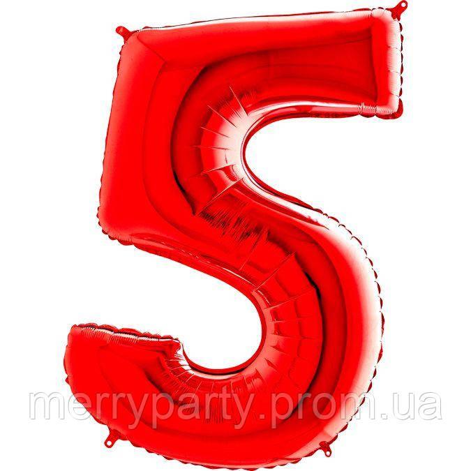 """40"""" Цифра """"5"""" (100 см) червоний Grabo Італія куля фольгований"""