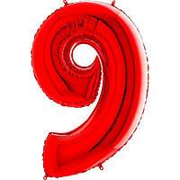"""40"""" Цифра """"9"""" (100 см) красный Grabo Италия шар фольгированный"""
