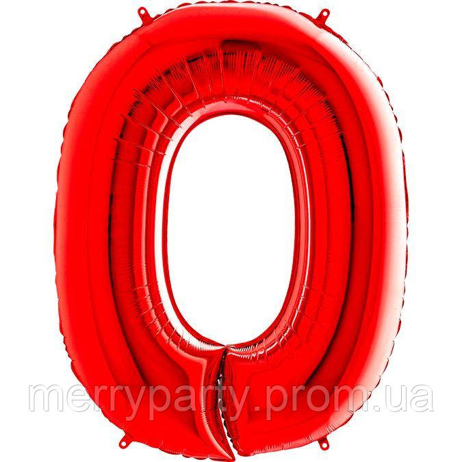 """40"""" Цифра """"0"""" (100 см) красный Grabo Италия шар фольгированный"""