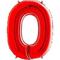 """Куля фольгований Цифра """"0"""" (100 см) червоний металік Grabo Італія"""