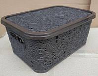 Корзина для хранения ажурная с крышкой 6л 21x29x12,5см (коричневая)