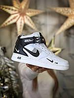 Зимние Женские Кроссовки Nike Air Force   термо носок   Найк Аир Форсе (ТОП реплика)