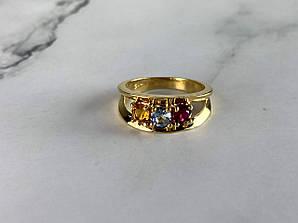 Кольцо в позолоте с разноцветными Фианитами