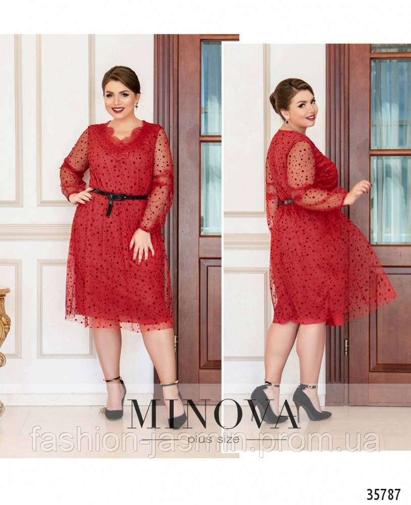 Платье №740-красный