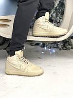 Зимові Чоловічі Кросівки Nike Lunar Force 1 Duckboot 17   Найк Лунар Форсі білі (ТОП репліка), фото 1