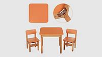 Столик и 2 стульчика. 092. Деревянный.Столешница 60-60-54см. Оранжевый.