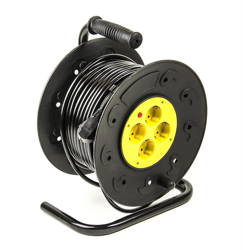Фильтр питания PowerPlant JY-2000/40 (PPRA08M400S4) 4 розетки, 40 м, черный, на катушке