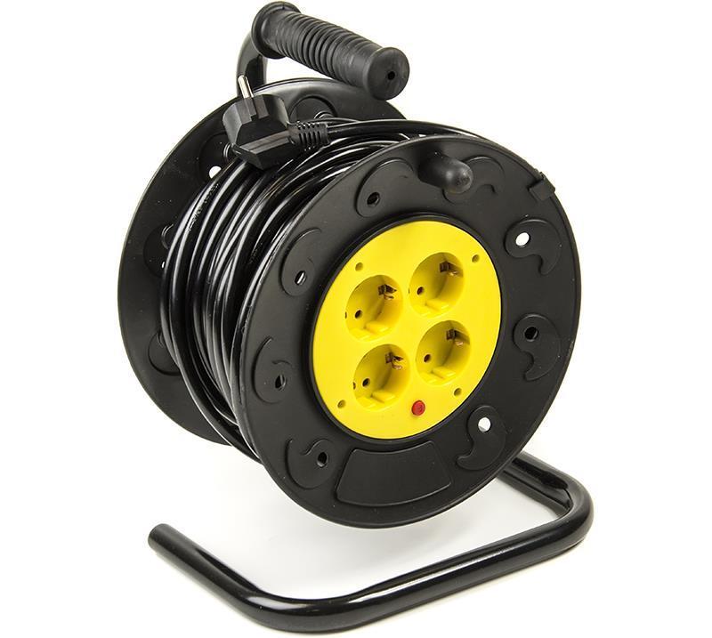 Фильтр питания PowerPlant JY-2000/20 (PPRA08M200S4) 4 розетки, 20 м, черный, на катушке