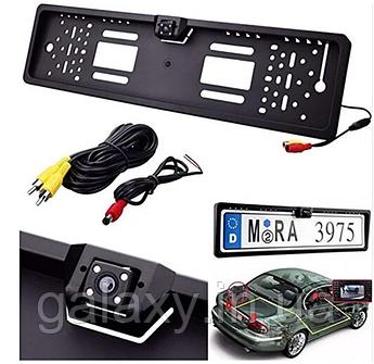 Камера заднего вида в LED рамке с подсветкой номера цветная с разметкой