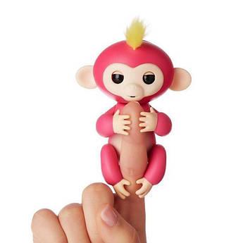 Интерактивная игрушка умная обезьянка-аниматроник Fingerlings Baby Monkey - ручная электронная Розовая