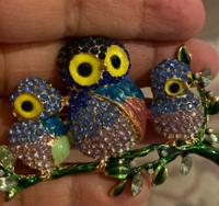 Брошь брошка 3 совы сова филин голубые  камни сверкает шикарная