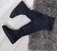 Ботфорти жіночі зимові сірі  екозамшеві на низькому каблуку