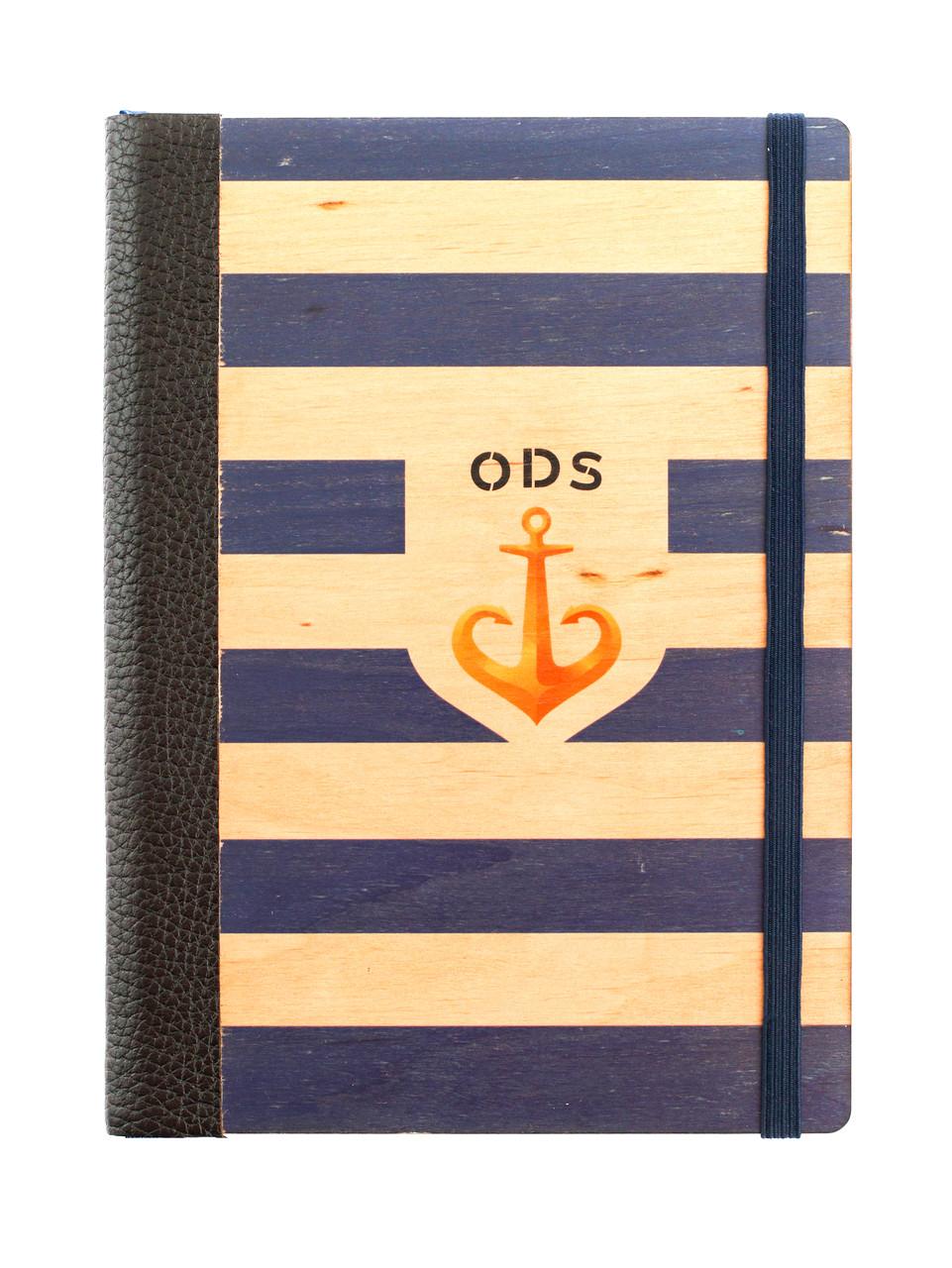 """Эко Ежедневник-мотиватор недатированный А5 """"Одесса. Синий"""", деревянный в книжном переплете, 368 стр."""
